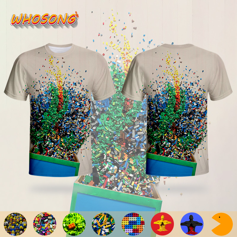 LEGO Streetwear Colorful Funny Toys T Shirt WHOSONG 3D T-shirt Family Clothes Kids Popular Tops Hot Sale New Design Men Tees