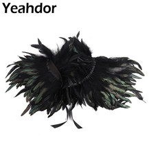 Women Retro Vintage Gothic Natural Feather Cape Shawl Stole with Choker Collar for Masquerade Campfire Party Performance Costume