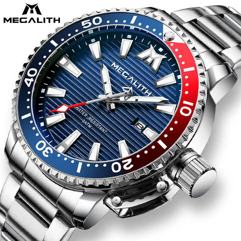 Reloj Hombre 2020 MEGALITH Sport Luminous Waterproof Quartz Watches Mens Full Steel Military Diving Calendar Watch Men With Box