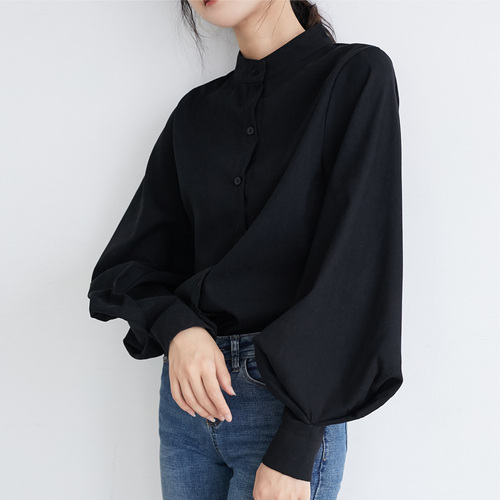 Women Lantern Sleeve Blouse Ladies Long Cotton Tops Female Vintage Oversize Loose Stand Collar Puff White Shirt Hot