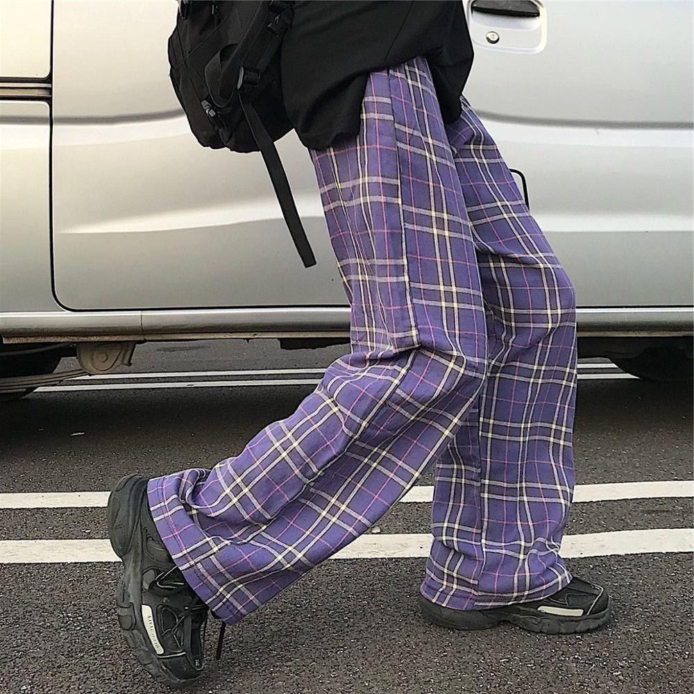 Harajuku Vintage Purple Plaid Pants Women 2020 Korean Casual Pockets Jogger Elastic Waist Long Trousers Female Pantalones Mujer