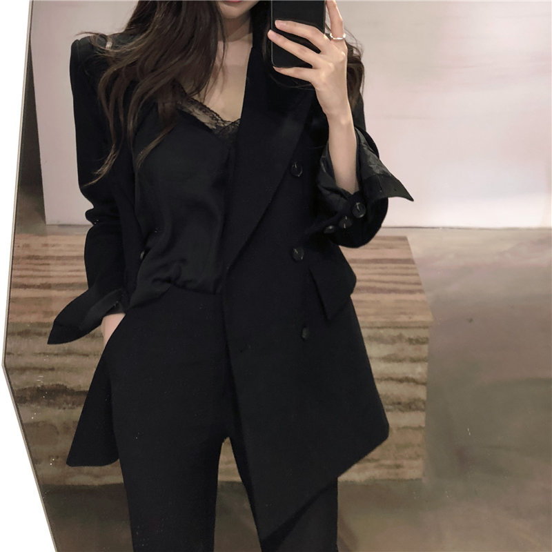 HziriP Hot Sale Chic Large Size Black 2020 Slim All Match Streetwear Women Autumn Office Lady Blazers Loose Casual Elegance Tops