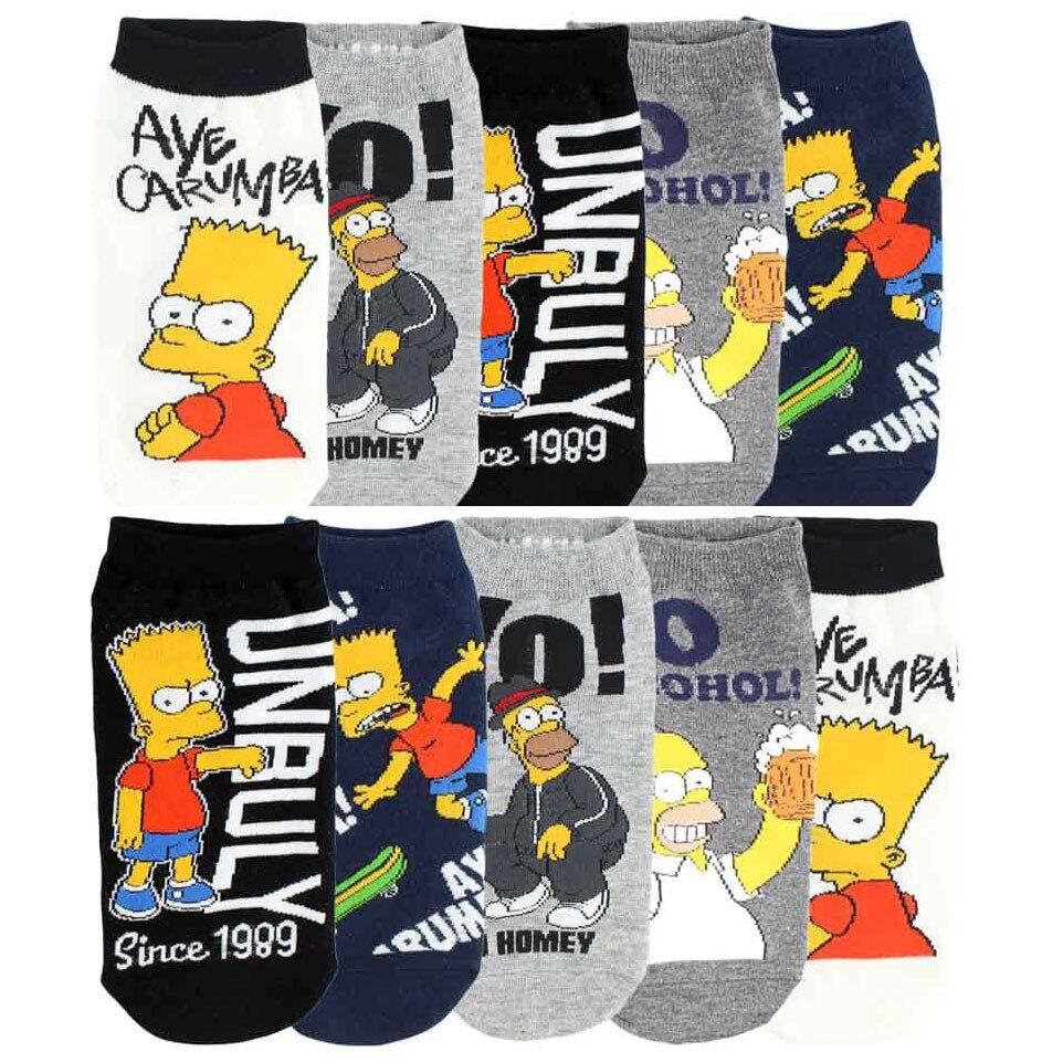 Korean Style Men Socks Simpsons Family Cartoon Socks Joker Novelty Street Wear Ankle Socks 615w