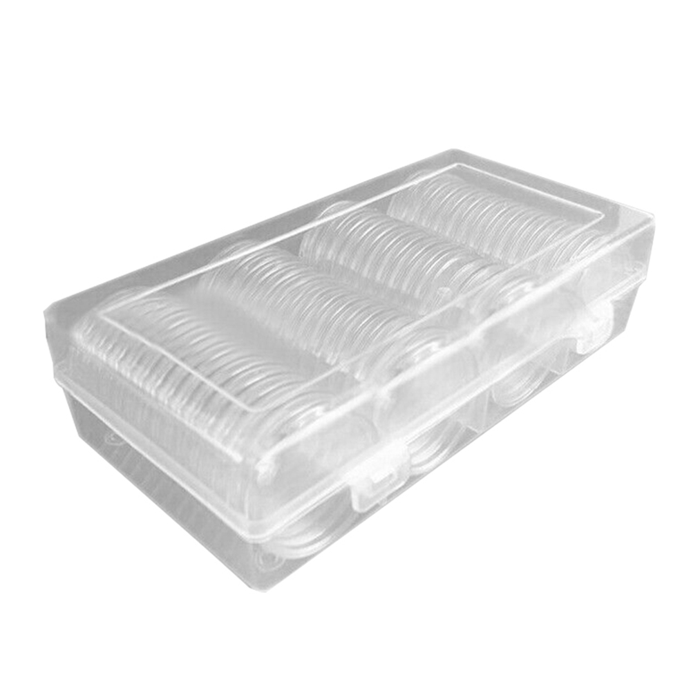 New 60pcs 40mm Coin Cases Clear Round Coin Storage Box Holder Capsules Plastic Round Container Storage Box New