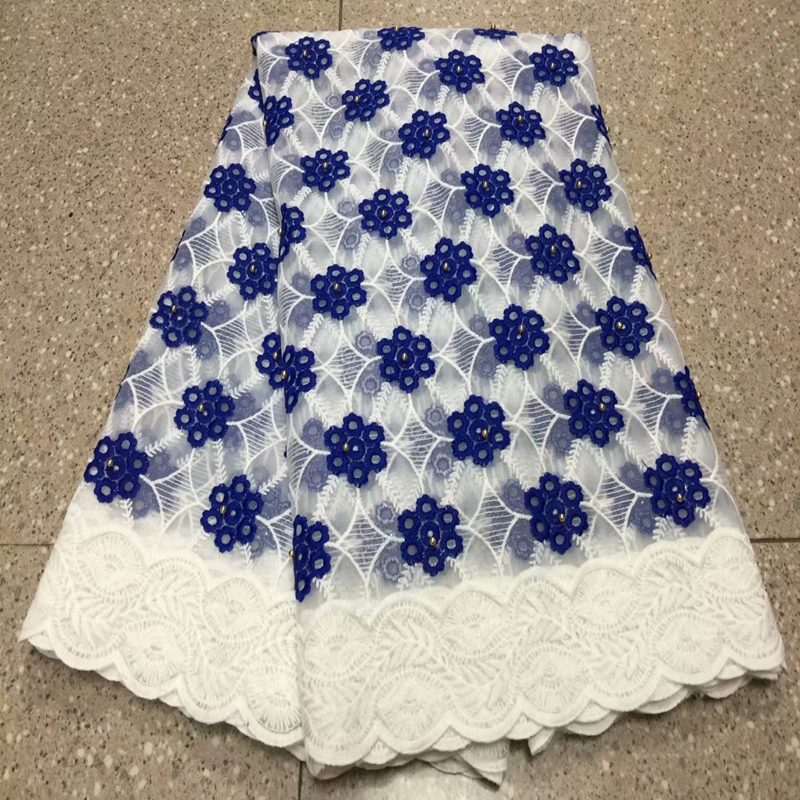 2019 Pure White Swiss Voile Lace Fabric In Switzerland High Quality African Nigerian Dry Lace Fabric With Beads For Bridal Dress