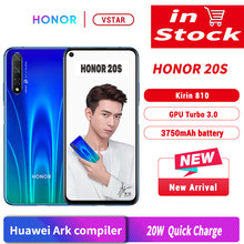 Original Honor 20 S Honor 20 S SmartPhone 6.26 Kirin 810 Octa Core Android 9.0 empreinte digitale déverrouiller GPU Turbo 3.0