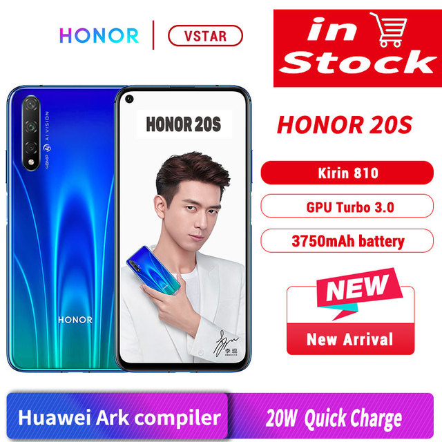 Original Honor 20 S Honor 20S SmartPhone 6.26 Kirin 810 Octa Core Android 9.0 Fingerprint unlock GPU Turbo 3.0