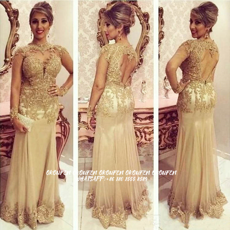 Gold Mother of The Bride Dresses Mermaid See Through Long Sleeves 2020 Wedding Party Gown Guest Evening Wear Mother of the Groom-1