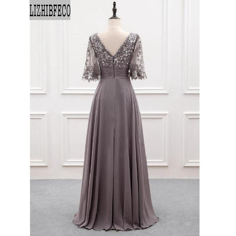 Grey Chiffon Lace Applique  Half -Sleeves Floor-Length A-line Mother Of The Bride Dress Custom Made