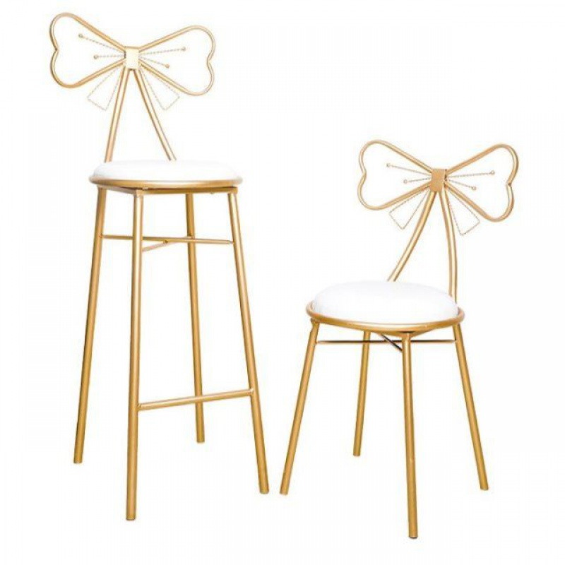 Modern Minimalist Bedroom Backrest Wrought Iron Makeup Chair Nordic Bow Net Red Girl Dresser Stool