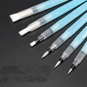 Image 1 - 6 Pçs/lote Portátil Pincel de Aquarela Caneta Cor Da Água Pincel Escova Lápis Macio para Iniciantes Pintura Desenho materiais de Arte