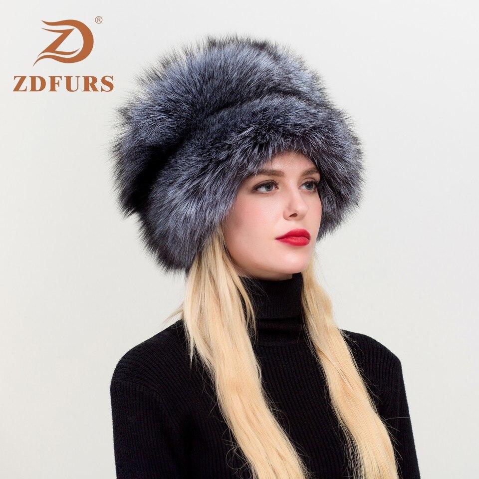 ZDFURS * femmes russe Ushanka aviateur trappeur renard fourrure Bombers chapeau réel renard fourrure chapeaux dôme mongol chapeau - 5