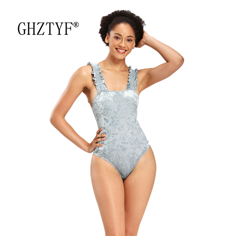 GHZTYF Summer Backless Bathing Suit Solid Color Sexy Swimwear Women 2020 Beach Sport Bodysuit One Piece Swimsuit title=