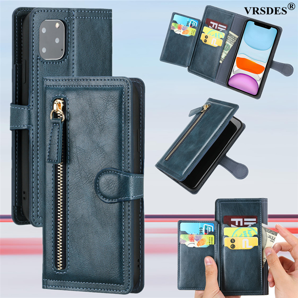Luxury Leather Zipper Flip Wallet Case For iPhone 11 12 Pro MAX  X XS XR 6 6S 7 8 Plus SE 2 2020 Card Holder Stand Phone Cover