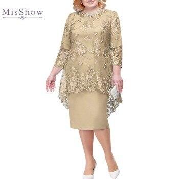 Plus Size Mother Of The Bride Dresses Suit Two Piece Midi Wedding Party Gown robe mere de la mariee 2020