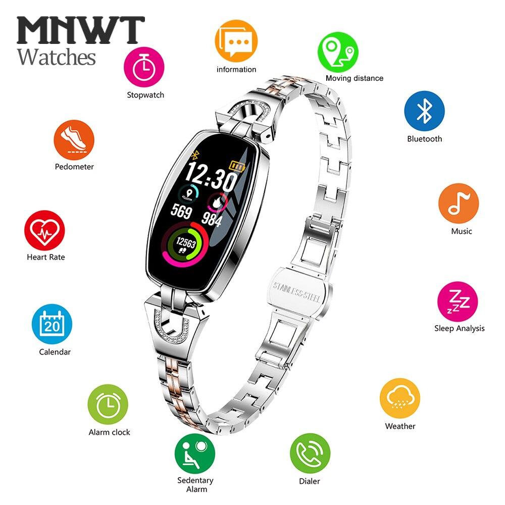 MNWT H8 mode montres intelligentes femmes montres numériques dames 2019 étanche surveillance de la fréquence cardiaque Bluetooth pour Android IOS