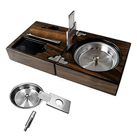 Car ashtrayCigar ashtray portable collapsible solid wood ashtray with stainless steel cigar scissors bracket hole opener