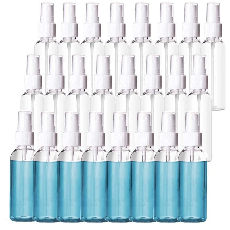 24 Pack 2Oz Plastic Clear Spray Bottles Refillable Bottles 60Ml Refillable Fine Mist Sprayer For Essential Oils Travel