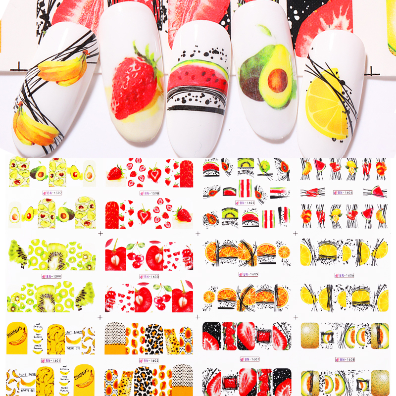 12 шт Летние фрукты вода наклейки фрукты/киви/банан/лимон/клубника дизайнерские наклейки для ногтей Обертывания слайдер украшения