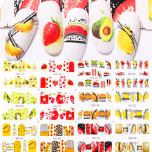 12 pçs verão fruta água decalques frutas/kiwi/banana/limão/morango projetos prego adesivos envolve slider decoração