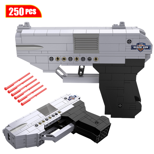 City WW2 Technic Double-barreled Pistol Gun Building Blocks Creator Weapon Military Police SWAT Bricks Toys for Children Boys