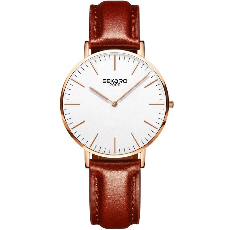 SEKARO 1605 швейцарские часы женские люксовый бренд из натуральной кожи ремешок минималистичный Модный повседневный бизнес платье кварцевые ча...