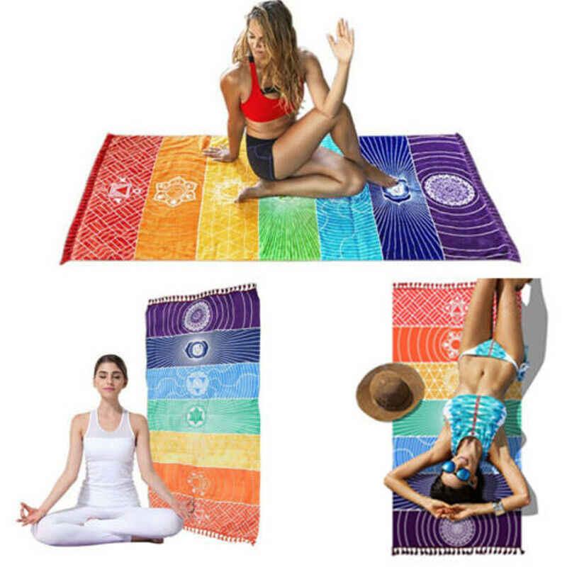Yoga Blanket Printed Rainbow 7 Chakra Mandala Yoga Mat
