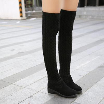 Slim Boots Women Sexy Black Over The Knee Boots Flat Heel  Women Snow Boots Women's Fashion Winter Thigh High Boots Shoes Women fashion denim over the knee boots sexy open toe high heel boots woman thigh high boots stiletto heels jeans boots