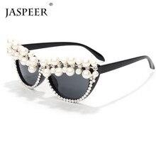 JASPEER 2020 Pearl Cat Eye Sunglasses Women Vintage Rhinesto
