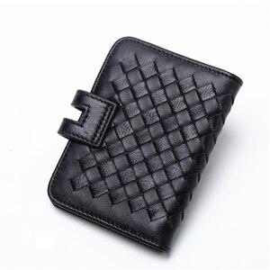 Image 2 - Мужской кошелек BISON DENIM из натуральной воловьей кожи, с отделением для кредитных карт, с ткацким дизайном, Роскошный кошелек для ID паспорта, N9313
