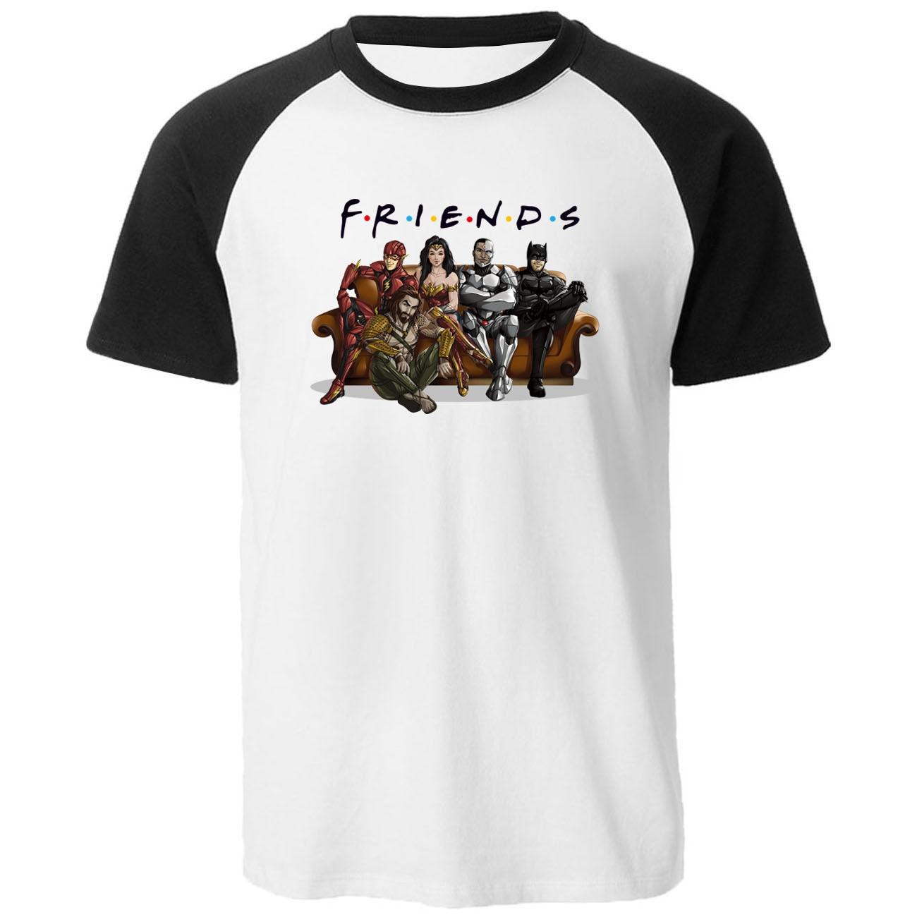 Fahsion Raglan Cartoon Friends Printed Homme T-shirts Men Hip Hop Batman Tops 2020 Streetwear Popular Summer 100% Cotton T Shirt