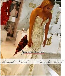 Image 2 - Novo modelo cetim sereia vestido de casamento com trem destacável