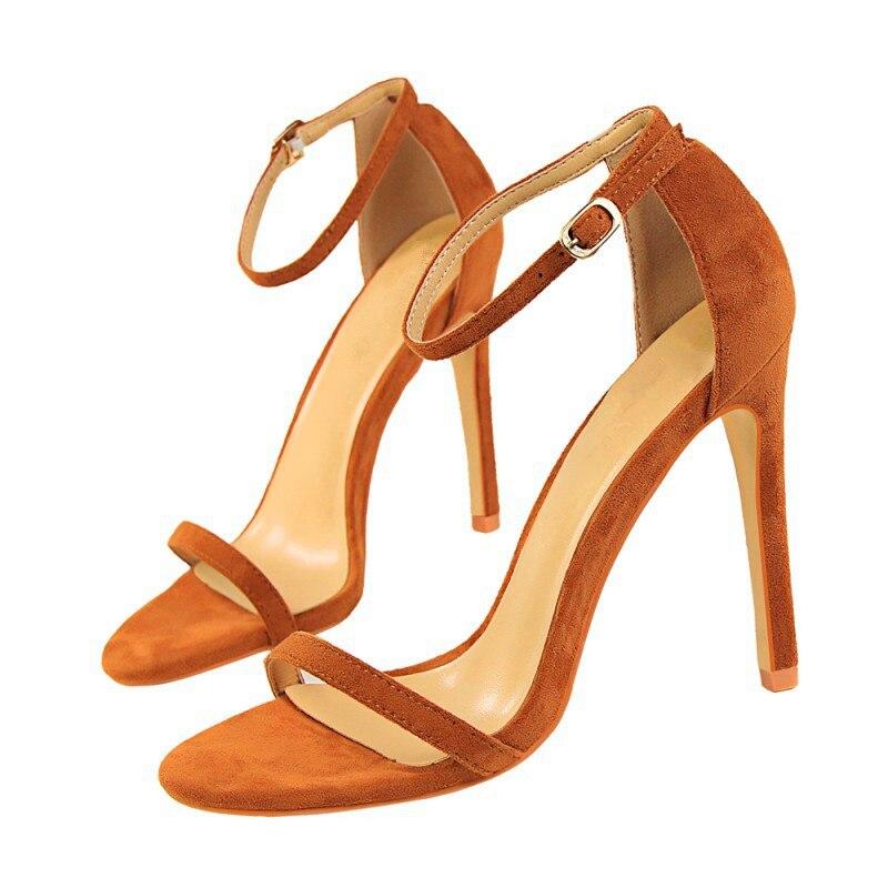 Summer new high heel word buckle with 8CM/11CM fine with open toe Suede wild female high heel sandals professional high heels