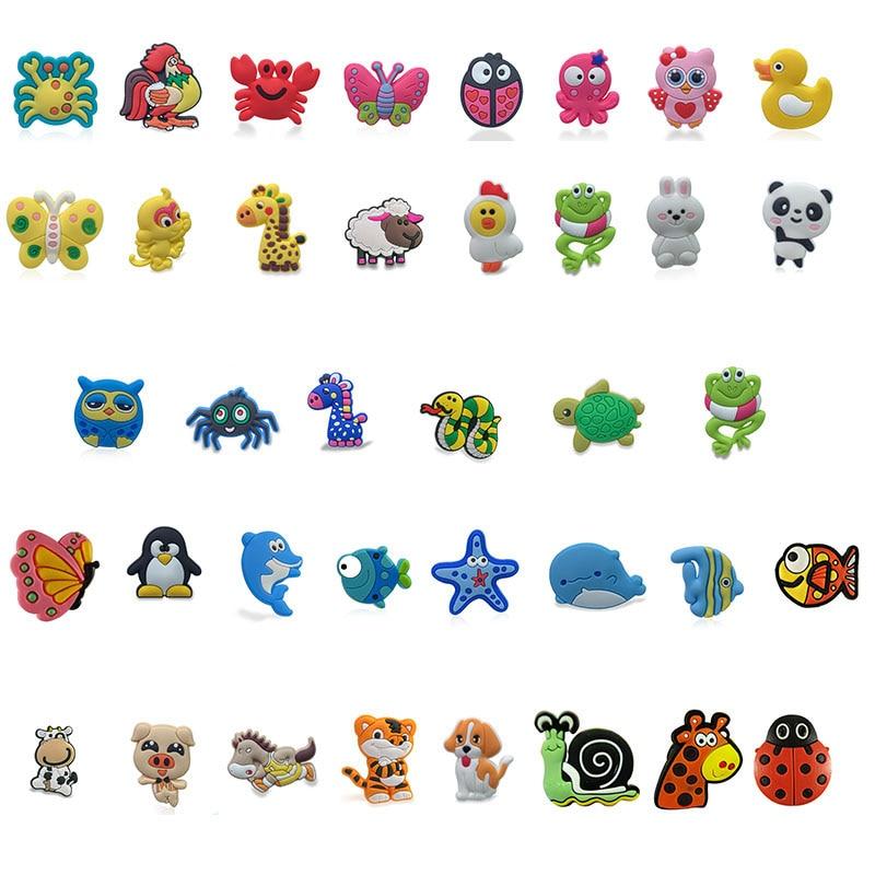 100pcs/lot Cute Animals PVC Shoe Charms Panda Fishes Shoe Accessories Buckles Croc Decoration Jibz for Boys Girls Kids GiftShoe Decorations   -