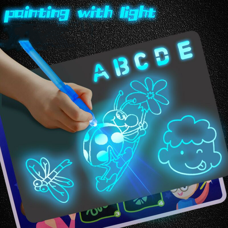 Magic Beam Tablet LED Luminous Drawing Board Graffiti Doodle Drawing Tablet Draw With Light-Fun Fluorescent Pen Educational Toy