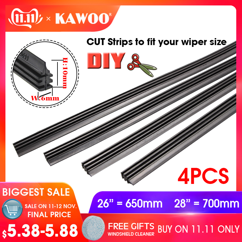 "KAWOO Universal Auto Vehicle Insert Rubber Strip strips Car Wiper Blade Blades (Refill) 6mm Soft 26""28"" 4pcs/lot Car Accessories"