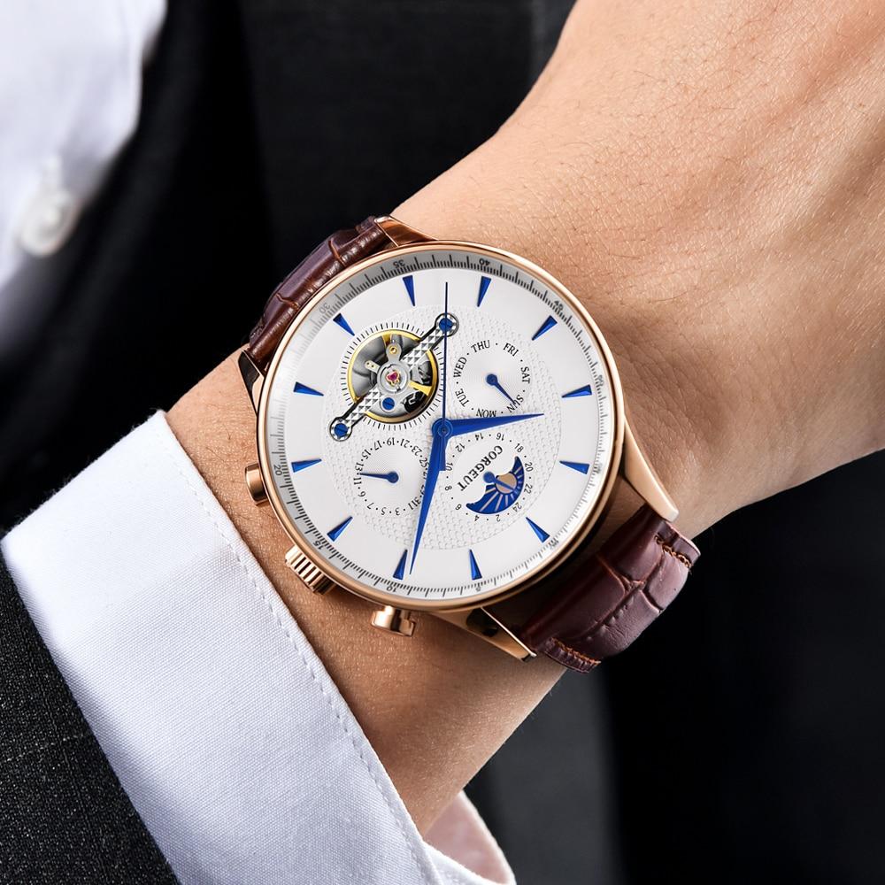 Corgeut esqueleto mecânico automático relógio masculino esporte topo marca de luxo lua fase relógios ouro rosa couro hombre pulso relógios - 4