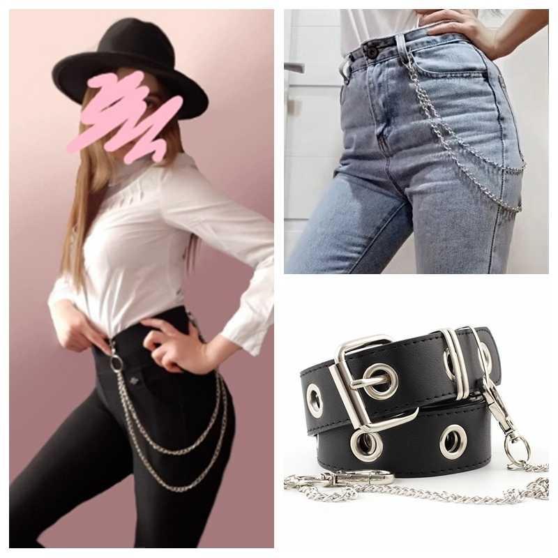 Модные панковские женские и мужские ремни, поясная цепь, хип-хоп крутые большие круглые цепи для брюк, джинсы унисекс, серебристые металлические аксессуары для одежды