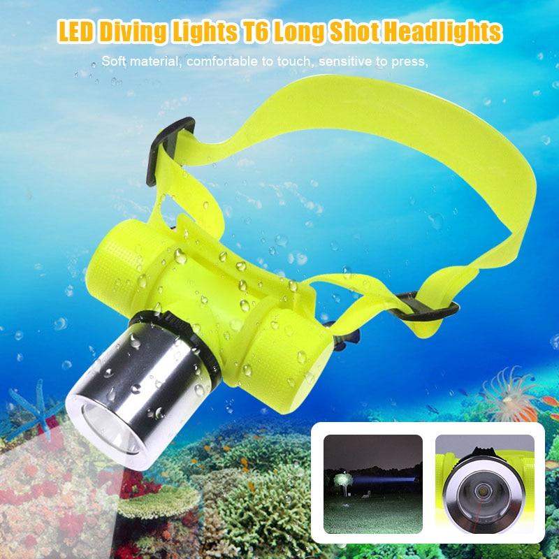 Diving Flashlight Headlamp Underwater T6 LED Waterproof Lamp For Camping Hiking Fishing PI669