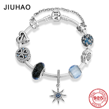 Hot 925 Sterling Silver Charm blue star zircon Bead bracelet with beautiful beads pendant fashion jewelry Womens accessories