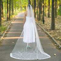 YouLaPan VS01 white wedding veil cathedral veil cathedral bridal veil lace edge one layer long elegant cathedral veil One Layer