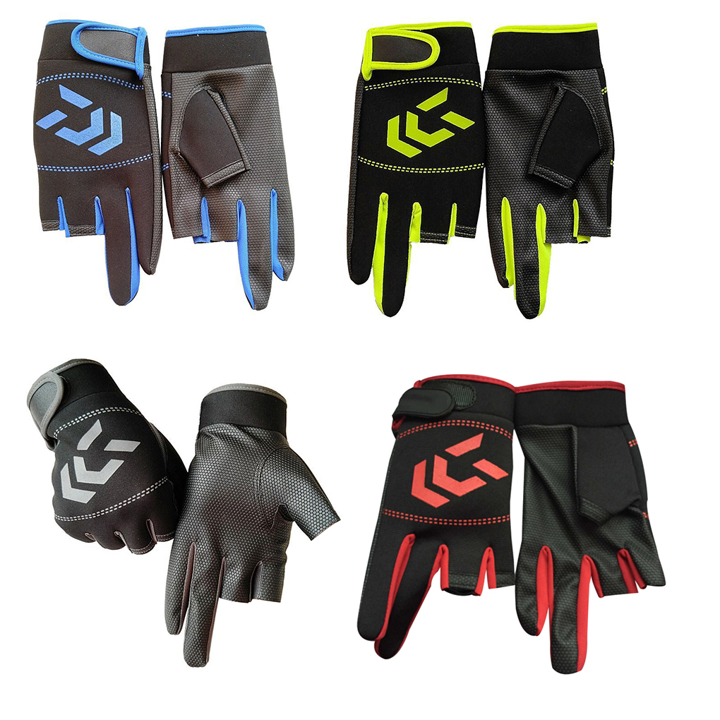 1 Pair Fishing Gloves Men Women Outdoor Fishing Anti-slip 3 Cut Finger Sports Fish Equipment Angling SBR Gloves