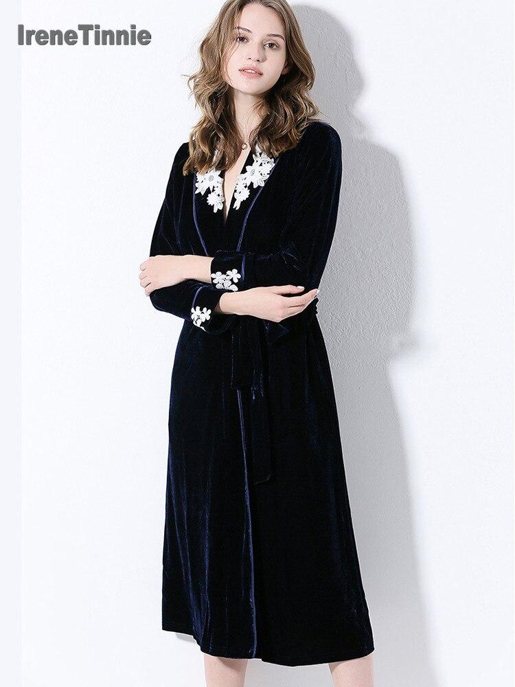 Irene Tinnie Gold Velvet Robe Luxury Night Gown Sleepwear Embroidery Lace Cardigan Gown Nightdress Pajamas For Sexy Women