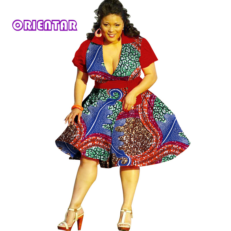 2019 Summer Bazin African Dresses for Women Dashiki African Wax Print Short Sleeve Dresses Traditional Clothing Plus Size WY2878