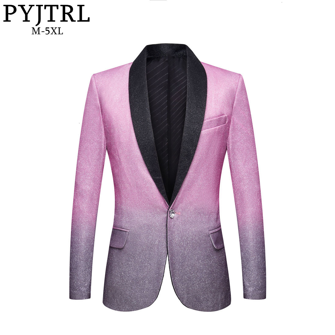PYJTRL Mens Wedding Groom Stylish Shalw Lapel Gradient Color Shiny Pink Gray Slim Fit Blazer Stage Singer Prom Dress Suit Jacket
