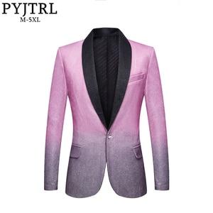 PYJTRL Mens Wedding Groom Stylish Shalw Lapel Gradient Color Shiny Pink Gray Slim Fit Blazer Stage Singer Prom Dress Suit Jacket(China)