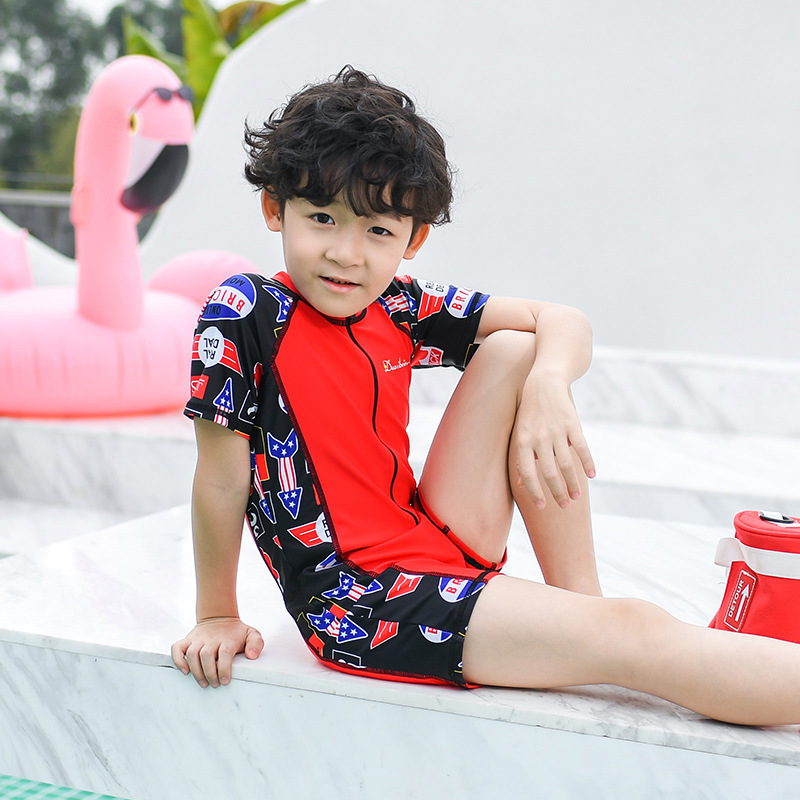 Cartoon KID'S Swimwear Men's Split Type Boxers Two-Piece Set Stand Collar Printed Comfortable Beach Play With Water Hot Springs