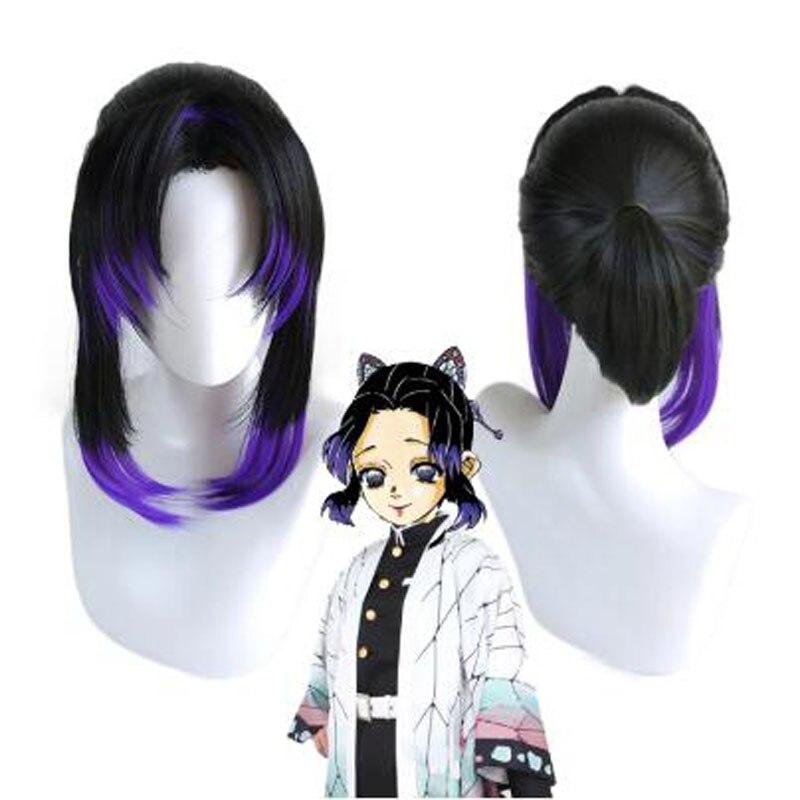 Anime Demon Slayer Kimetsu No Yaiba Kochou Shinobu Wig Cosplay Costume Women Heat Resistant Synthetic Hair Wigs + Wig Cap