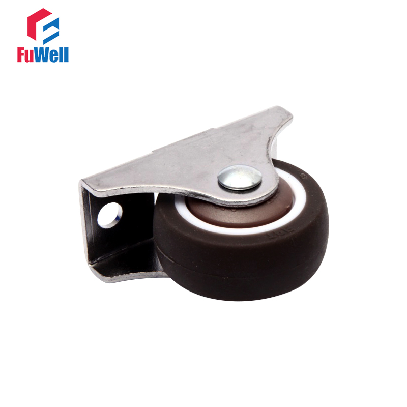 2pcs Fixed Furniture Caster 1''/1.25'' TPE Furniture Caster Wheel Anti-wrap Rubber Wheels for Showcase Office Chairs