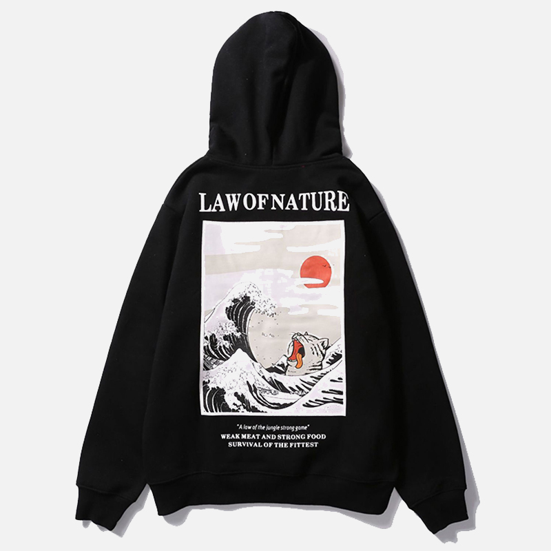 Printing Hoodies Sweatshirts Cat-Wave-Printed Funny Japanese Winter Streetwear Casual